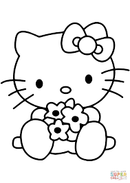 hello kitty with flowers coloring page free printable coloring pages