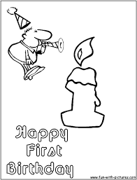 happy 1st birthday cake coloring page for kids holiday in 1st