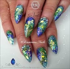 blue and green acrylic nail designs cameleon nail polish