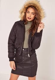 petite faux fur hood padded er jacket black missguided