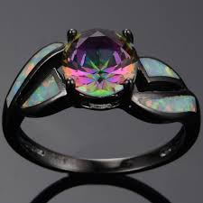 white fire rings images Classic multicolor engagement wedding rainbow topaz stone 10kt jpg
