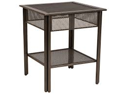 End Table With Shelves by Square Black Wrought Iron End Table With Shelf And Four Legs Of