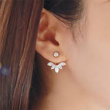 korean earings korean gold and silver plated leave stud earrings fashion