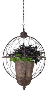 spherical hanging planter traditional outdoor pots and