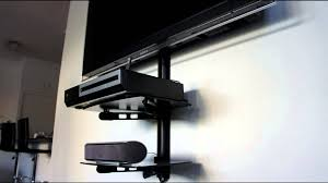 how to hide wires wall mount tv av shelf shelf wall mounting bracket tv shelf youtube