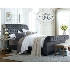 Grey Sleigh Bed Upholstered Sleigh Bed King Elkar Club