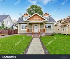 small house exterior view entrance porch stock photo 209198392