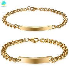 gold tone stainless steel bracelet images Boniskiss couple pair matching gold tone stainless steel bracelet jpg