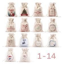 unique large christmas gift bag home party vintage drawstring