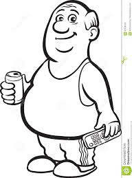 beer cartoon black and white whiteboard drawing cartoon fat retired man with beer can and t