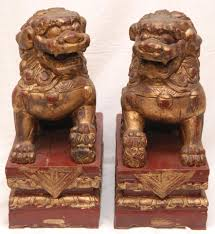 foo lions for sale wood carvings carved wooden foo dog figures pair