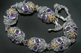 bracelet skull silver images French skull amethyst eyes luxurious gold silver bracelet br 047 jpg