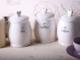 storage canisters for kitchen set of 3 ceramic tea coffee sugar white storage jars shabby chic