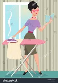 woman dressed 1960s style clothes ironing stock vector 179011106