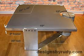 Concrete Coffee Table Gray Concrete Coffee Table Polished Steel Frame Clean Cut Dr30