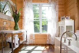 Wicker Vanity Set Rustic Bathroom Decorations Complete With Beautiful Curtains On