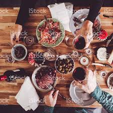 On Table by Food On Table Overhead Table Top View Stock Photo 488210400 Istock