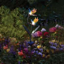 flower solar stake lights solar powered decorative ideas to light up your yard