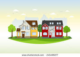 two houses colorful flat residential houses stock vector 362720222