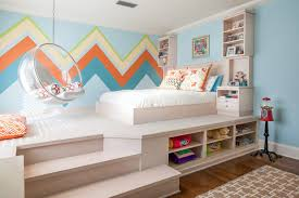 Kids Platform Bed Plans - chevron rooms ideas kids contemporary with orange accent color toy