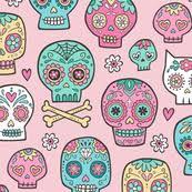 sugar skull fabric wallpaper gift wrap spoonflower