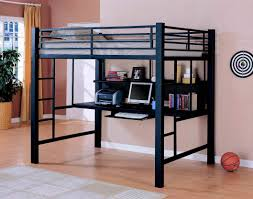 Wood And Metal Bunk Beds Metal Bunk Bed With Desk Black Loft Computer On Carpet And