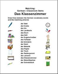 german matching classroom items abcteach