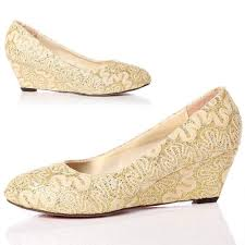 wedding shoes closed toe closed toe wedge pumps gold lace wedding shoes with almond toe 5cm