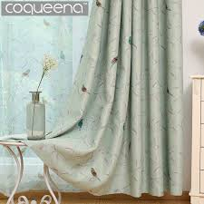 Turquoise Blackout Curtains Traditional Turquoise Birds Thermal Insulated Blackout Curtain For