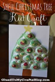 seashell christmas tree kid craft glued to my crafts