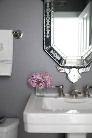 Pedestal Sink With Towel Bar Powder Room With White Pedestal Sink And Oval Mirror And Gray