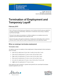 Employee Notice Of Termination by Termination Of Employment And Temporary Layoff