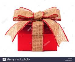 gift wrapped boxes gift box wrapped with rustic burlap bow and ribbon isolated on