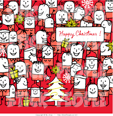 vector graphic of a crowd of stick figure people at a christmas