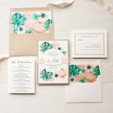 blush succulent anemone wedding invitations beacon lane