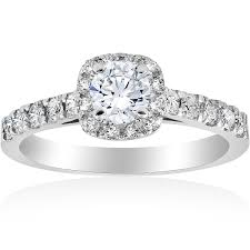 gold diamond engagement rings 1ct cushion halo diamond engagement ring 14k white gold