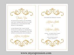 bi fold wedding program template wedding program template bifold gold vintage by myexpressionshop