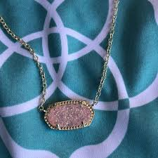 kendra scott necklace light pink kendra scott jewelry elisa pendant in light pink drusy poshmark
