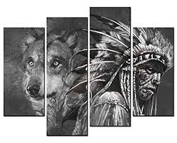 smartwallart figure paintings wall wolf and indian black