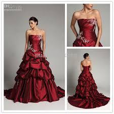 allure dark red wedding dresses satin applique court floor length
