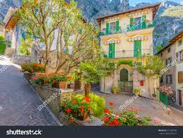 picturesque small town street view limone stock photo 317380736