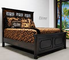 Wood And Iron Bedroom Furniture Tuscan Style Bed With High Headboard Rustic Mediterranean Bedroom