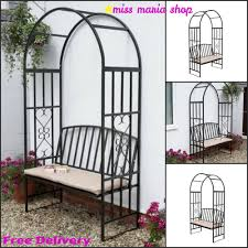 Arbor Bench Plans by Garden Steel Arbour Bench Cushion Arch Patio Furniture Arbor Metal