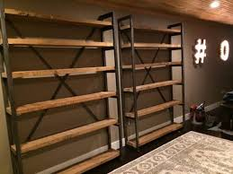 custom made metal and wood bookshelves cool kitchens