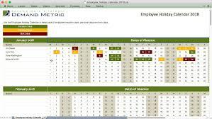 employee holiday calendar 2017 demand metric