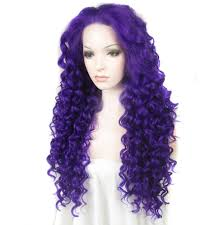 Powder Room D Inch Fashion Curly Blue Lace Front Glueless Synthetic Wigs