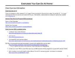 Chair Cardio Exercises Class Four U2013 Exercises You Can Do At Home Handout
