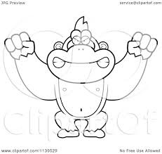 cartoon clipart of a black and white mad gorilla monkey vector