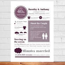 personalised 40th wedding anniversary print by afewhometruths