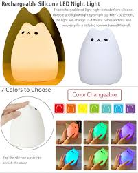 colorful rechargeable silicone led night light desk bedroom lamp